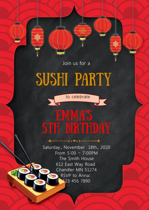 Sushi birthday party invitation