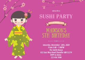 Sushi birthday party invitation A6 template