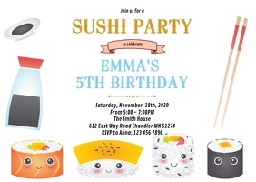 Sushi birthday party invitation