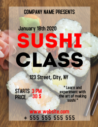 Sushi class cooking lessons advertisement fly