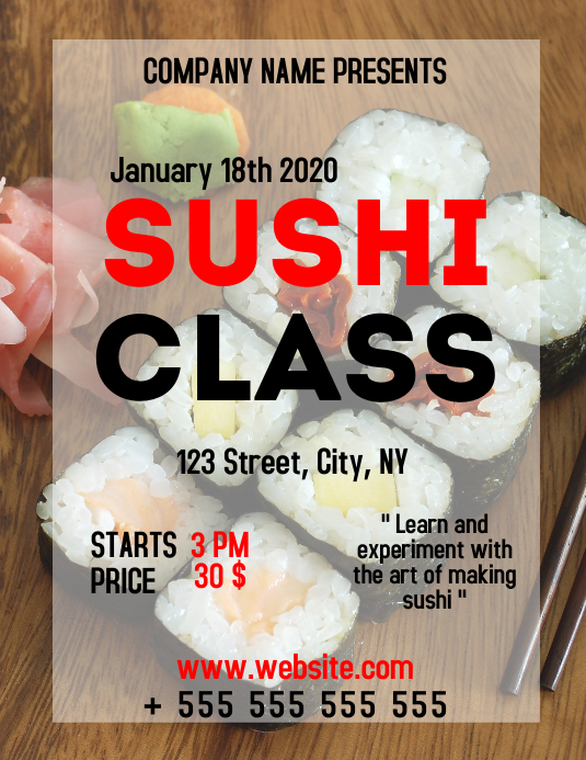 Sushi class cooking lessons advertisement fly Løbeseddel (US Letter) template