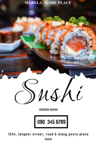SUSHI DELIVERY Poster template