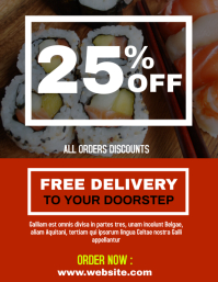Sushi delivery service flyer advertisement