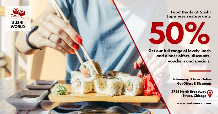 Sushi facebook post discount voucher template