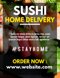 sushi home delivery service flyer advertiseme template