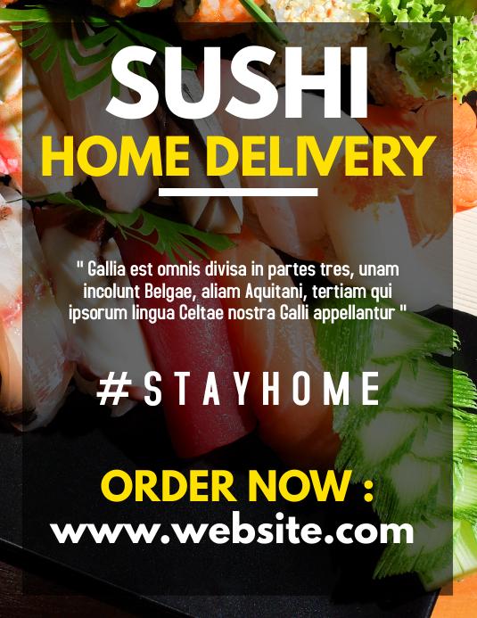 sushi home delivery service flyer advertiseme Løbeseddel (US Letter) template