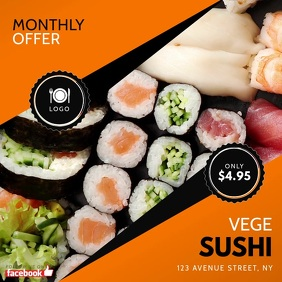 Sushi Instagram Video Offer Promotion Quadrato (1:1) template
