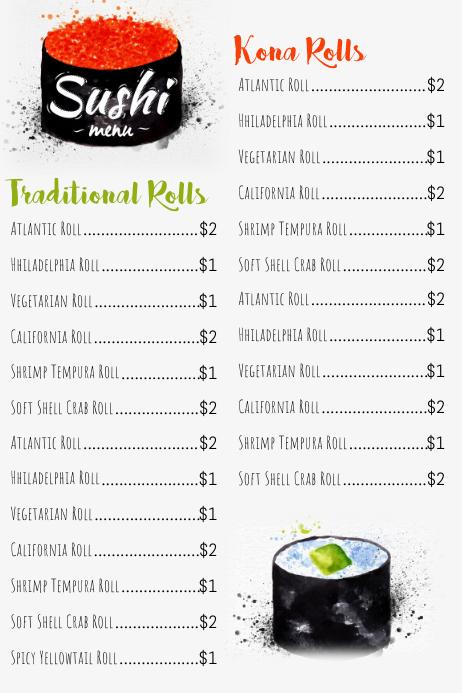 Sushi Menu Template