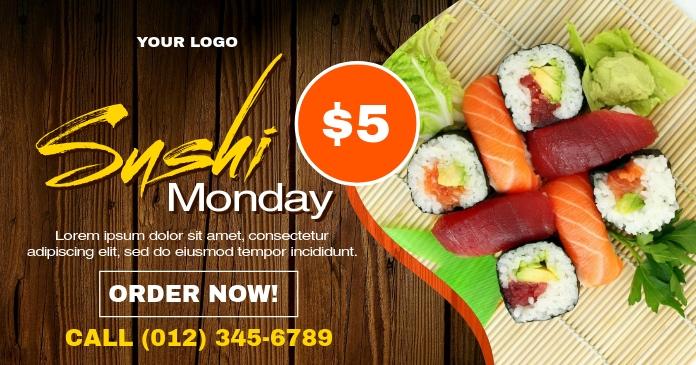Sushi Monday Ad Template delt Facebook-billede