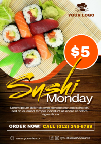 Sushi Monday Flyer Ad Template A4