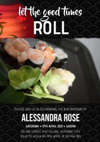 Sushi Party Invitation A4 template