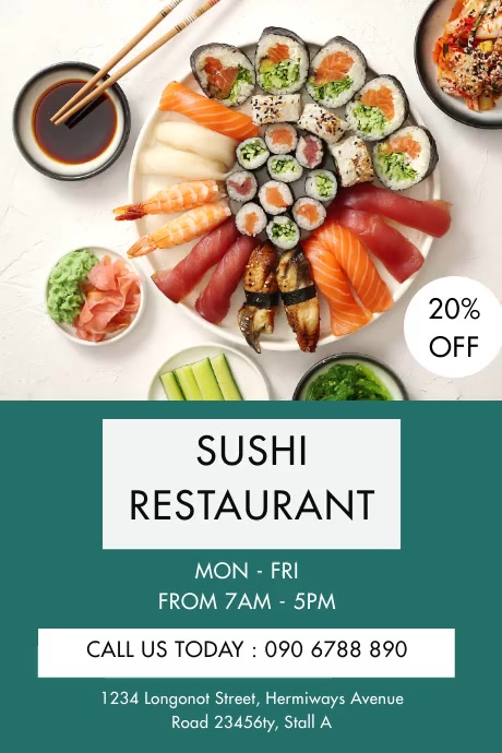 SUSHI RESTAURANT FLYER Plakat template