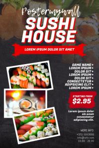 Sushi Restaurant Flyer Design Template Poster