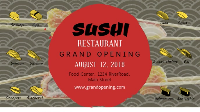Sushi Restaurant Grand Opening Facebook Cover Video Facebook-covervideo (16:9) template