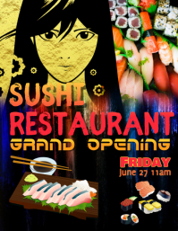 Sushi Restaurant Grand Opening Flyer Template