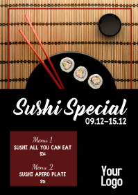 Sushi Special Food Bar Bistro Restaurant ad A4 template