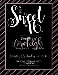 Sweet 16 Birthday Invitation BLACK