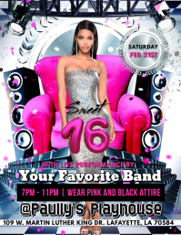 SWEET 16 BIRTHDAY PARTY FLYER TEMPLATE
