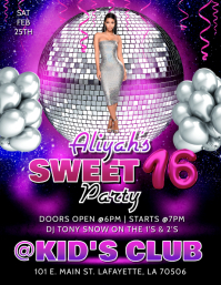 SWEET 16 BIRTHDAY PARTY FLYER TEMPLATE Volante (Carta US)