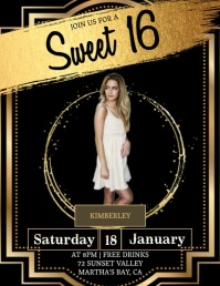 SWEET 16 party invitation Template Volante (Carta US)