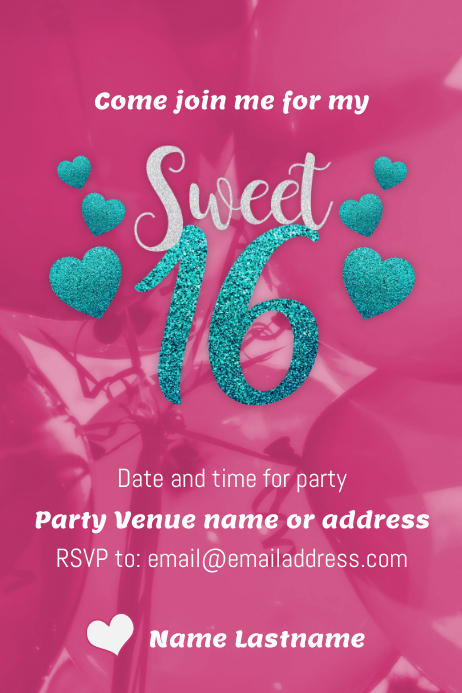Sweet 16 Party Flyer Template Postermywall