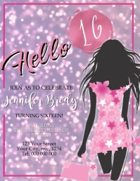 Sweet 16 Sixteen Birthday Party Invitation Flyer (US Letter) template