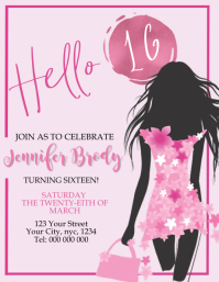 Sweet 16 Sixteen Birthday Party Invitation