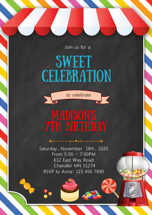 Sweet candy birthday party invitation