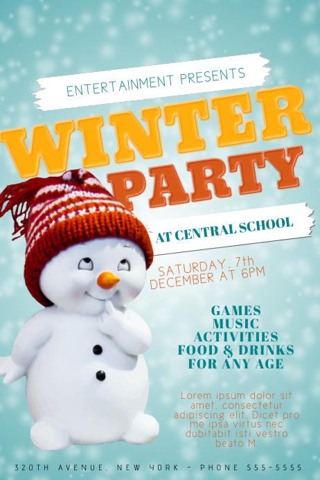 Sweet Kids Children Winter Party Fair Event Flyer Template