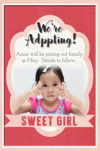 Adoption Announcement Flyer Poster Card Family Collage template