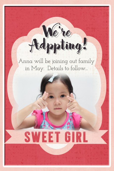 Adoption Announcement Flyer Poster Card Family Collage