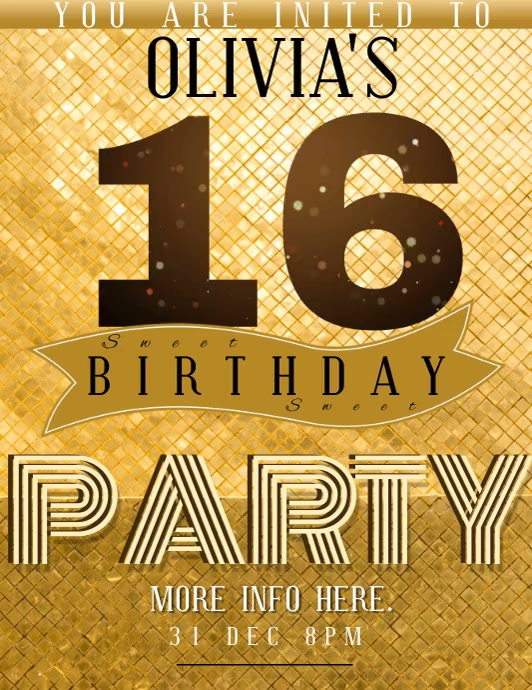 sweet sixteen birthday party template