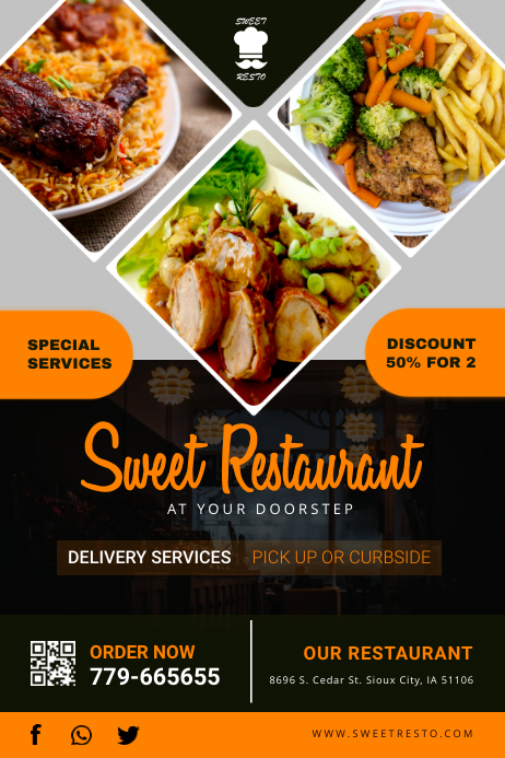 Sweet Store Take out Delivery Service Poster Iphosta template