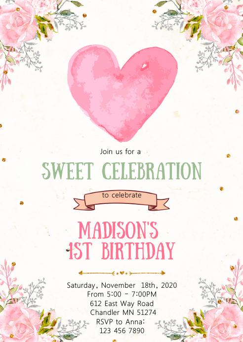 Sweetheart birthday party invitation