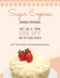 Sweets Shop Grand opening Flyer Template Volantino (US Letter)