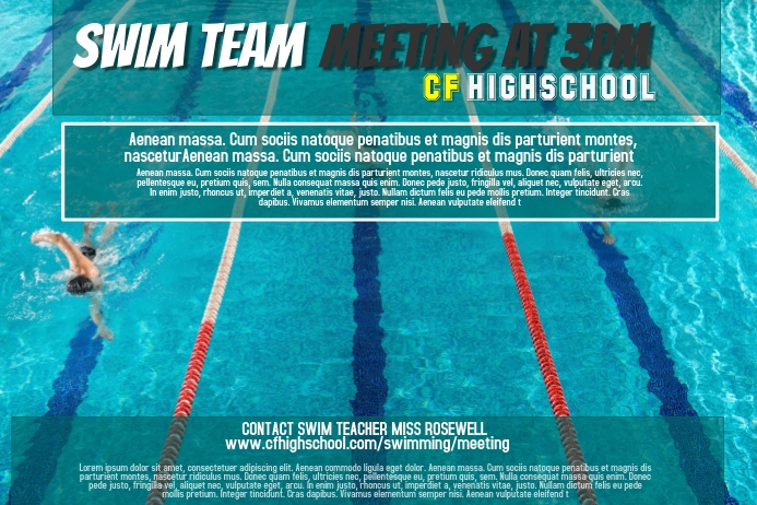 Swim Team Poster Template Postermywall