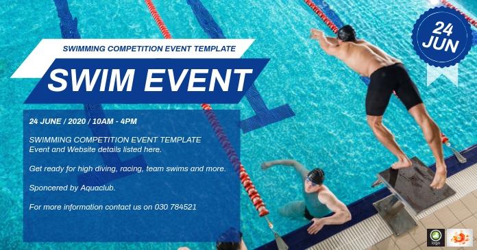 Swimming Event Template Gedeelde afbeelding op Facebook