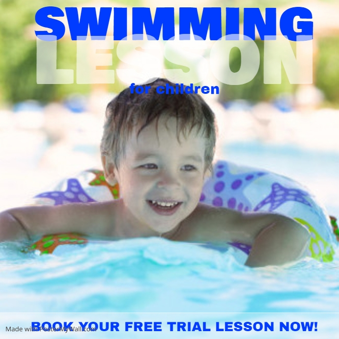 Swimming lesson insta template postermywall Valentine pool swimming lessons