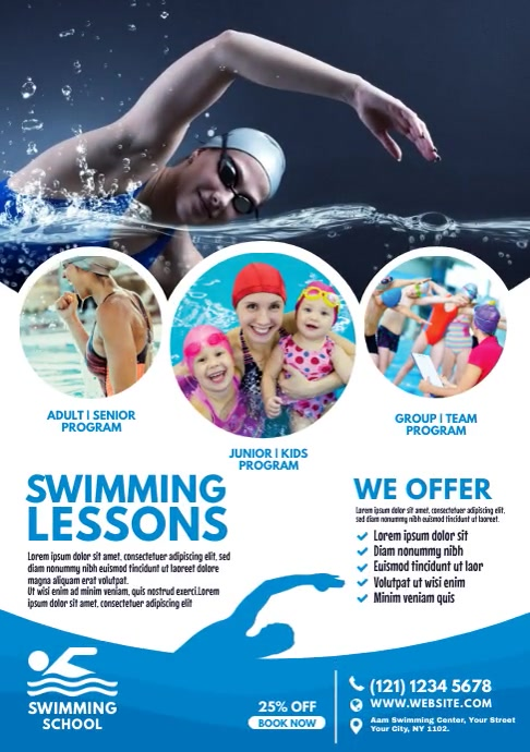 Swimming Lessons Ad A4 template