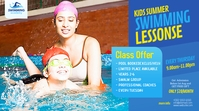 Swimming Lessons Ad Twitter Post template