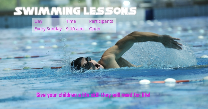 Swimming Lessons Facebook Advertensie template