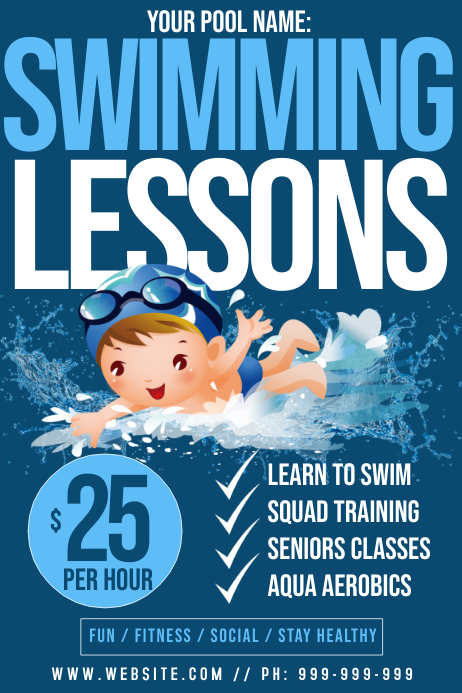 Swimming Lessons Poster Template | PosterMyWall
