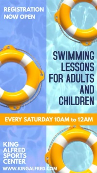 Swimming Lessons Social Media Ad Template Tampilan Digital (9:16)