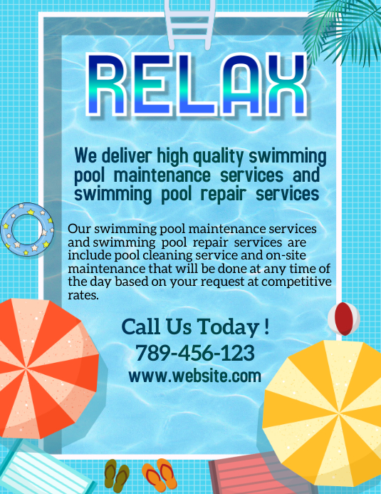 Swimming Pool Service Templat Postermywall