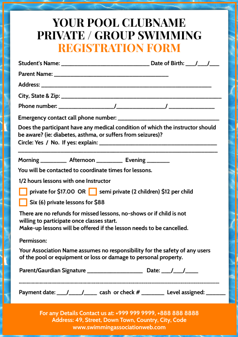 Swimming Registration Form Template A4