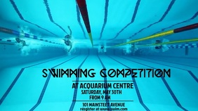 SWIMMING VIDEO FLYER TEMPLATE Tampilan Digital (16:9)