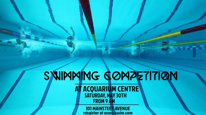SWIMMING VIDEO FLYER TEMPLATE Digitale display (16:9)