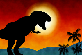 t-rex - Tyrannosaurus rex prehistoric landscape with sunset and palm tres