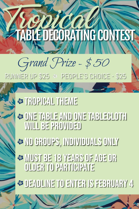 Table Decorating Contest Плакат template