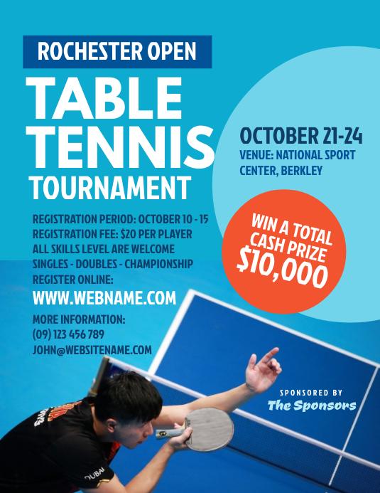 Table Tennis Tournament Flyer